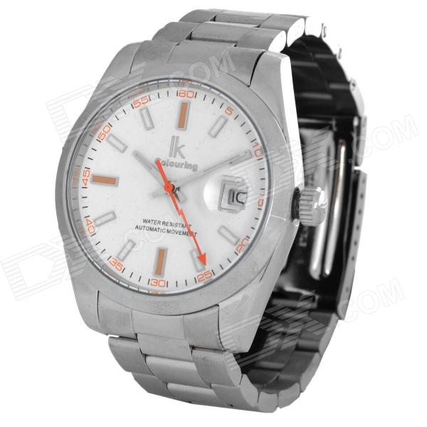 IK Men's Fashion Water Resistant Mechanical Wrist Watch - Silver + White 40mm bliger white dial white ceramic bezel gmt luminous hands sapphire glass automatic movement men s mechanical watches