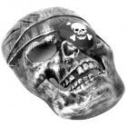 Cool Pirate Skull Face Mask - Silver Grey + Black