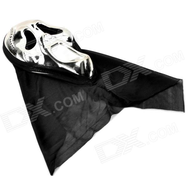 Halloween Screaming Skull Face Mask for Cosplay Party - Silver + Black