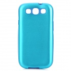 Stylish Protective Aluminum Alloy Cover Silicone Back Case for Samsung Galaxy S3 i9300 - Blue