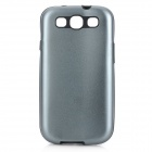 Stylish Protective Aluminum Alloy Cover Silicone Back Case for Samsung Galaxy S3 i9300 - Grey