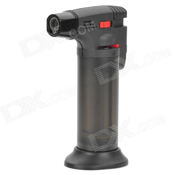 HD101 Wind Resistant Flame Adjustable Gas Lighter w/ Stand - Black + Silver