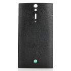 Lichee Pattern Replacement PU Leather Cover Plastic Battery Back Case for Sony LT26i - Black