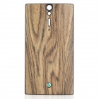 Wood Grain Replacement PU Leather Cover Plastic Battery Back Case for Sony LT26i - Brown