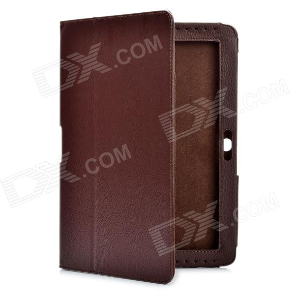 Protective PU Leather Case for Samsung Galaxy Tab 2 P5100 - Brown g cover pu leather hand bag for ipad 2 3 4 samsung galaxy tab p5100 10 table pc blue