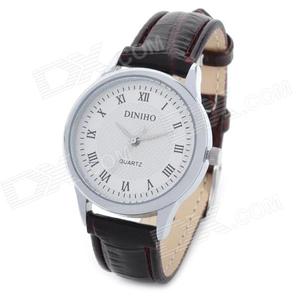 Simple Lady's PU Leather Band Round Dial Quartz Wrist Watch - White + Brown (1 x LR626) diniho fashion lady s pu leather band round dial quartz waterproof wrist watch black 1 x lr626