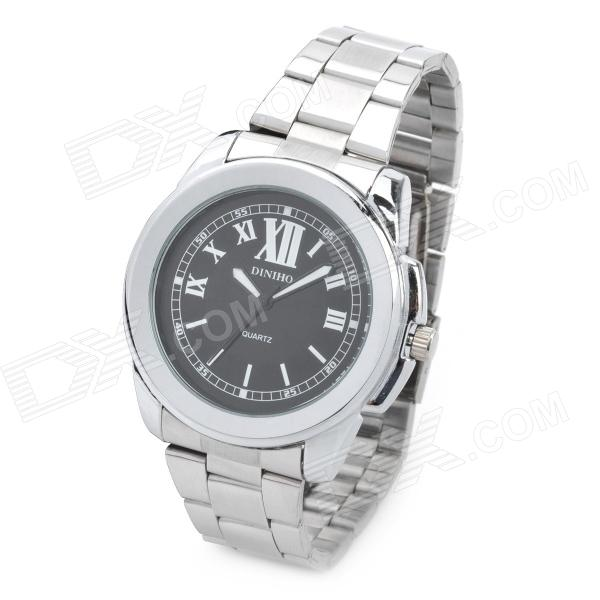 Fashion Men's Stainless Steel Band Quartz Wrist Watch - Black + Silver(1 x LR626) fashion stainless steel quartz analog wrist watch for women silver blue 1 x lr626