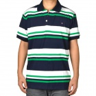 Men's Fashion Horizontal Stripe Short Sleeves Polo Shirt T-Shirt - Green + Blue + White (Size-XL)