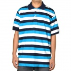 Fashion Horizontal Stripe Short Sleeves Polo Shirt T-Shirt for Men - Blue + Black + White (Size-XL)