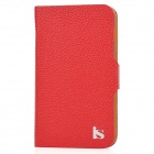 Genuine Leather Protective Case for Samsung i9220 - Red