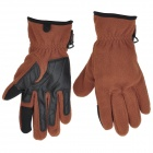 WONNY Outdoor Sports Non-Slip Full Finger Gloves - Brown + Black (Pair)