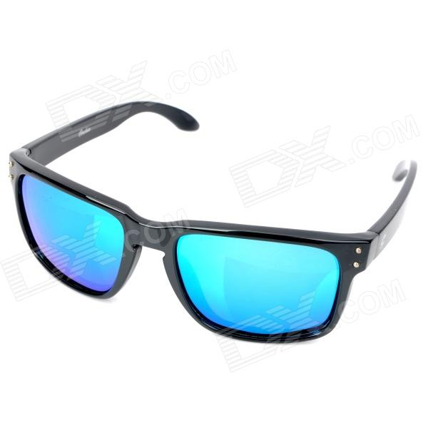 OREKA UV 400 Protection Fashion Resin Lens Polarized Sunglasses - Black + Blue oreka uv 400 protection fashion resin lens polarized sunglasses black blue
