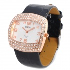 Fashion CrystalPU Leather Quartz Wrist Watch - Golden + Black (1 x SR626)