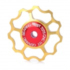 AEST Aluminium Bike 7075 11T Ceramic Bearing Schaltwerk Pulley - Golden + Rot