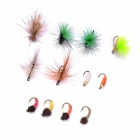 Flyfishing Lifelike Leather Fish Lure Bait Hook (12-Piece Pack)