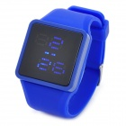 Stylish Silicone Band Blue LED Wrist Watch - Blue + Black (1 x SR626)