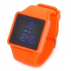 Stylish Silicone Band Square Dial Touch Screen Blue LED Wrist Watch - Orange (1 x SR626)