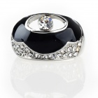 Unique French Spiritual Eye Style Czech Stones Ring - Silver+Black