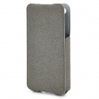 ROCK Protective PU / Fiber Top Flip-open Case for Iphone 4 / 4S - Grey