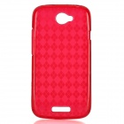 Diamond Pattern Protective TPU Back Case for HTC One S - Red