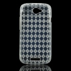 Diamond Pattern Protective TPU Back Case for HTC One S - White