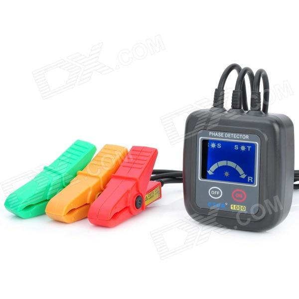 1.7 LCD Non Contact Phase Detector - Black (2 x AA)Testers &amp; Detectors<br>Brand: CPTCAM - Model: ETCR1000 - Color: Black - With 1.7 LCD display - Electricity range: AC 70~600V (continuous sine wave input) - Positive phase: 4 phase-detecting lights and 1 arrow light the lights will be turned on in clockwise R indicating - Negative phase: 4 phase-detecting lights and 1 arrow Light the lights will be turned on in anticlockwise L indicating - Electricity: the light R-S S-T are on in the voltage setting range - Default phase: the light R-S S-T are off - Broken circuit: the light R-S  S-T are off - Max testing voltage: AC 600V - Insulating strength:5.4kVrms - Max rated power: 100mVA - Safety suitable for EN61010-1 2001 / EN61010-031 2002 - Powered by 2 x AA batteries (included) - Comes with leather bag &amp; Chinese/English user manual<br>