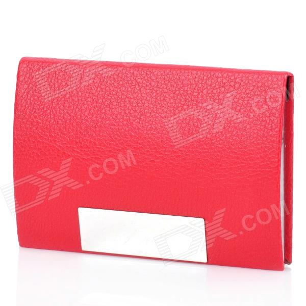Stylish Lichee Pattern PU Leather Stainless Steel Name Card Business Card Holder Case - Red never leather badge holder business card holder neck lanyards for id cards waterproof antimagnetic card sets school supplies