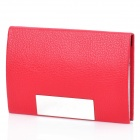 Stylish Lichee Pattern PU Leather Stainless Steel Name Card Business Card Holder Case - Red
