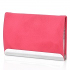 Stylish Lichee Pattern PU Leather Stainless Steel Name Card Business Card Holder Case - Deep Pink