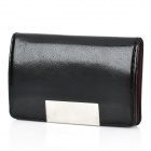 Stylish Arc-shaped PU Leather Stainless Steel Name Card Business Card Holder Case - Black