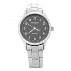 DINIHO Fashion Lady's Stainless Steel Round Dial Quartz Wrist Watch - Black + Silver (1 x LR626)