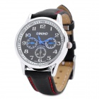 DINIHO Lady's PU Leather Band Round Dial Quartz Water Resistant Wrist Watch - Black (1 x LR626)