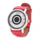 EYKI Fashion Lady's PU Leather Band Stainless Steel Quartz Wrist Watch - Red + Silver (1 x LR626)