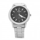 DINIHO Fashion Men's Stainless Steel Round Dial Quartz Wrist Watch - Black + Silver (1 x LR626)