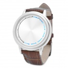 Fashion Round Shaped Touch Screen LED Wrist Watch - Brown + Silver (2 x CR2016)