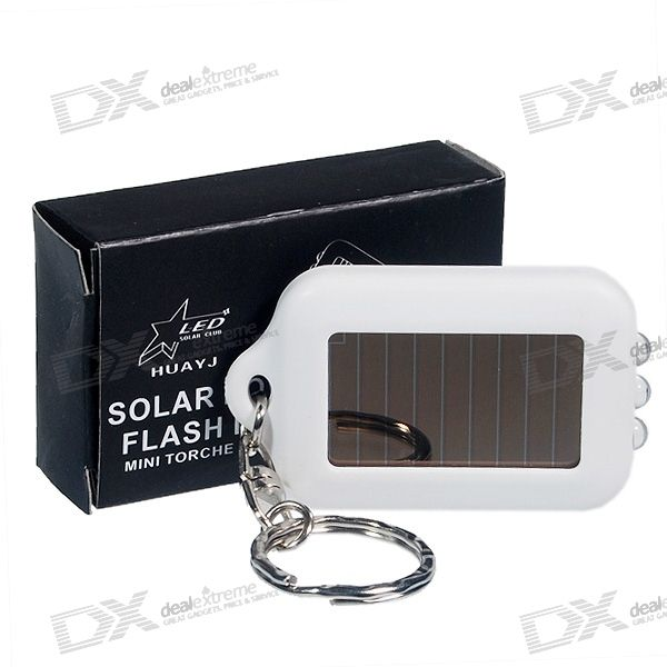 3-LED Solar Powered Flashlight Keychain (White)