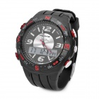 Fashion Water Resistant Diving Wrist Watch - Black + Red (1 x CR2016 + 1 x SR626SW)