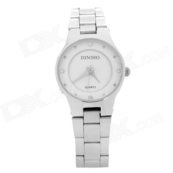 DINIHO Lady's Stainless Steel Quartz Water Resistant Wrist Watch - White + Silver (1 x LR626) stylish crystal stainless steel quartz water resistant wrist watch light blue 1 x lr626