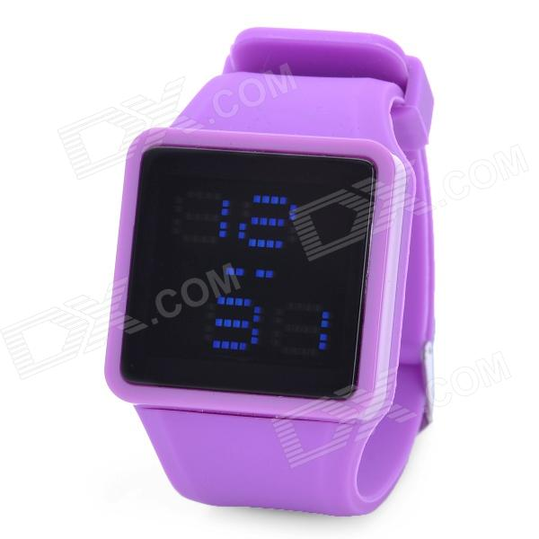 Stylish Silicon Band Square Dial Touch Screen Blue LED Wrist Watch - Purple (1 x SR626)