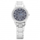 DINIHO Lady's Alloy Band Round Dial Quartz Water Resistant Wrist Watch - Black + Silver (1 x LR626)