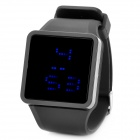 Stilvolle Silikon-Band-Platz Dial Touch-Screen-Blaue LED-Armbanduhr - Schwarz (1 x SR626)
