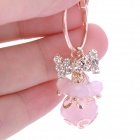 Alloy / Crystal Lantern Earrings - Pink + Golden (Pair)