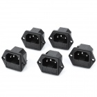 AC 250V 10A Flat Plug Power Socket Outlets w/ Fuse - Black (5-Piece Pack)