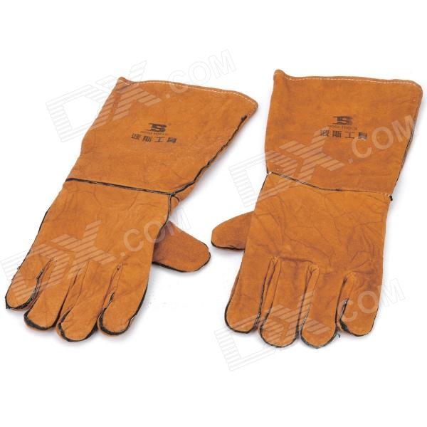 Cow Leather Professional Welding Glove - Yellowish Brown (1-Pair)