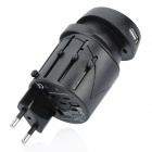 Traveling Universal AC Power Adapter Charger with USB - Black