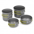Outdoor Camping Cook Ware Pot / Bowl Set - Silver Grey (4-Piece)