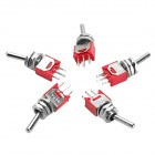 Electrical Power Control 3-Pin Toggle Switch - Red + Silver (5-Pack)