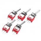 Elkraft Kontroll 3 - Pin Toggle Switch - Röd + silver ( 5 - pack)