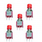 DIY 6-Pin Push Button Switch - Red + Silver (5-Piece Pack)