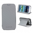 Protective ABS Plastic + PU Leather Foldable Holder Case for Samsung i9300 - Grey